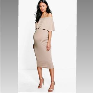 Boohoo Maternity April Off The Shoulder Midi Dress